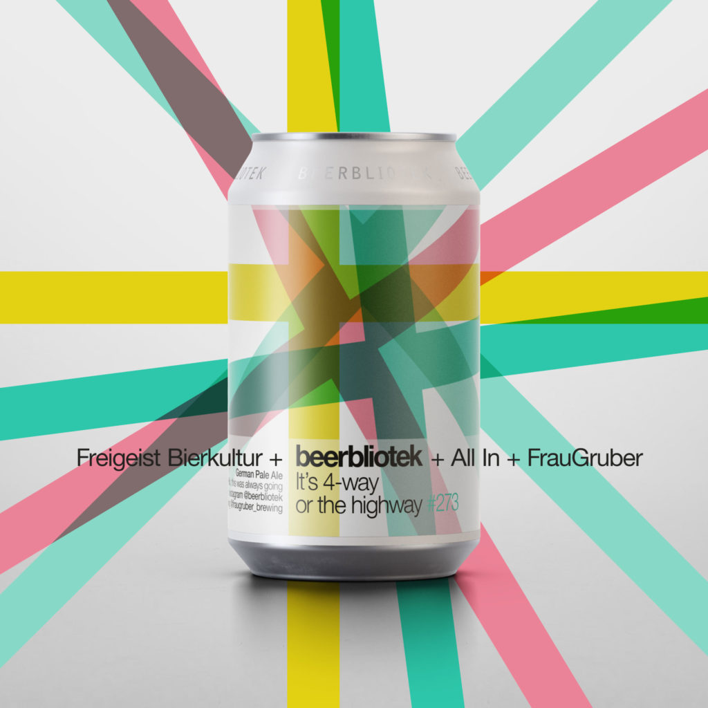 A four-way collaboration beer with two Swedish Craft Breweries and two German Craft Breweries Freigeist Bierkultur, beerbliotek, All In Brewing, FrauGruber. A German Pale Ale