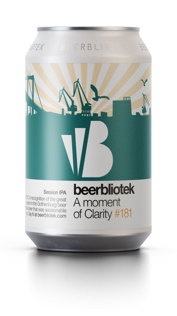 A can packshot of A moment of Clarity, a Session IPA brewed by Swedish Brewery Beerbliotek from Gothenburg.