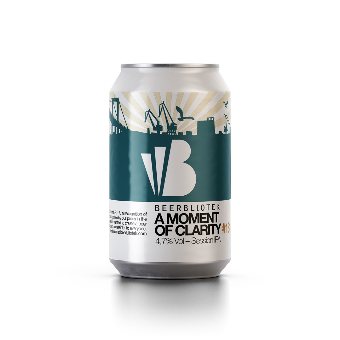 A can packshot of A Moment of Clarity, the Session IPA brewed by Beerbliotek Craft Brewery in Sweden.