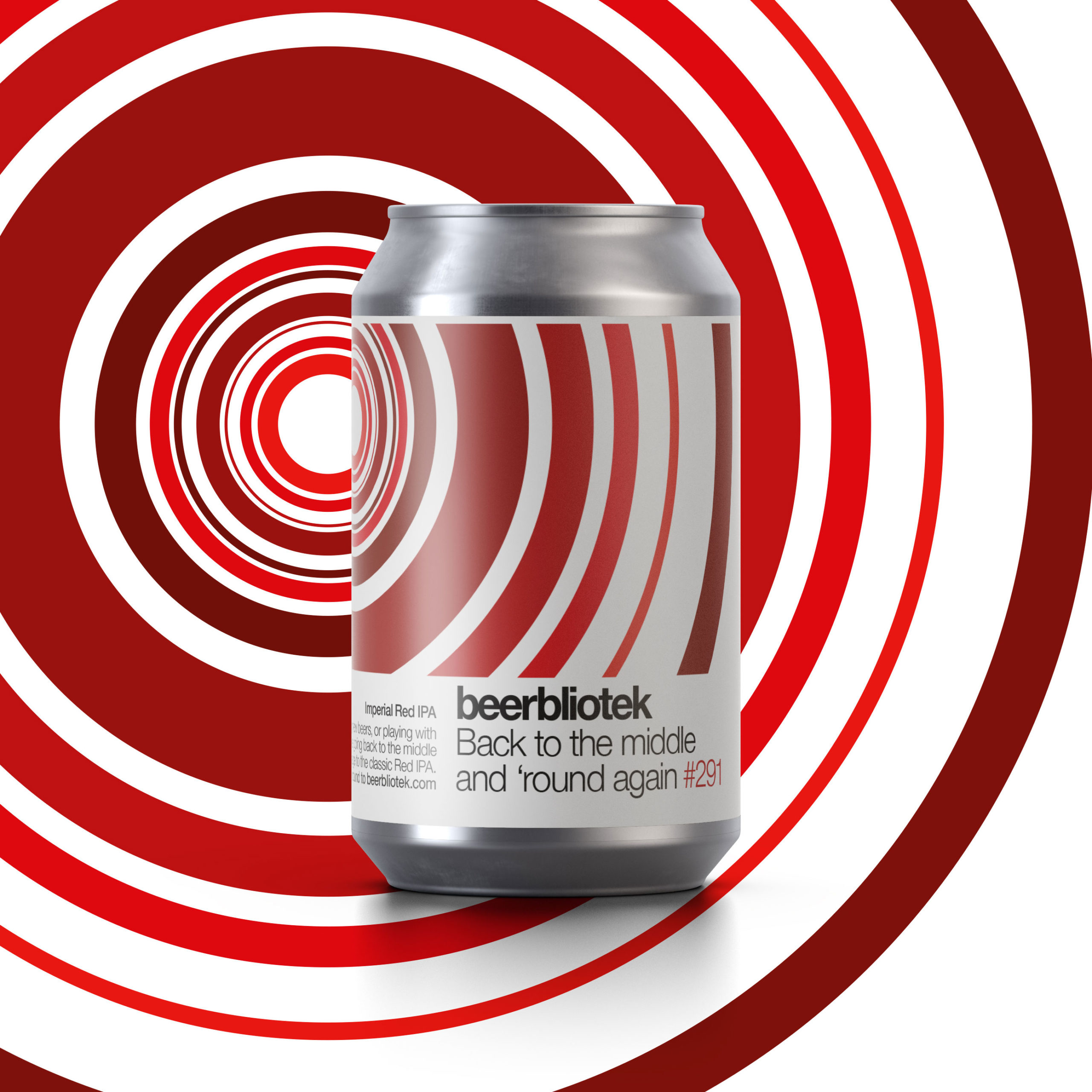 A can packshot of Back to the middle and 'round again, an Imperial Red IPA brewed in Gothenburg, by Swedish Craft Brewery Beerbliotek.