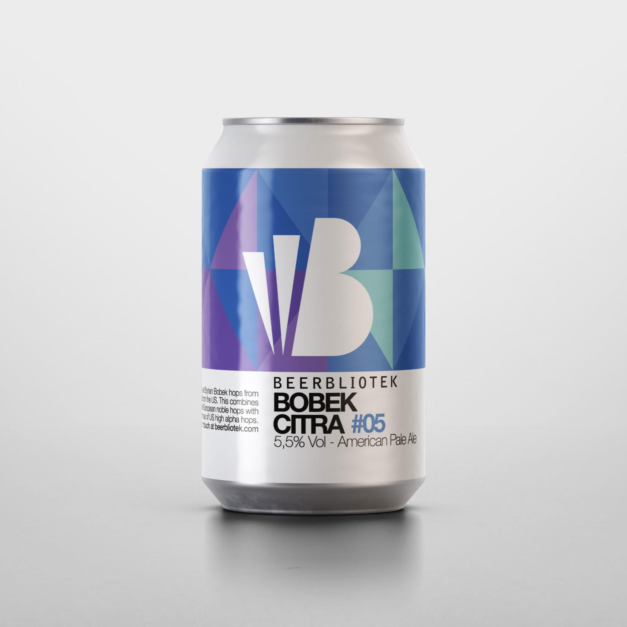 A can packshot of Bobek Citra, an American Pale Ale, brewed by Swedish Craft Brewery Beerbliotek.