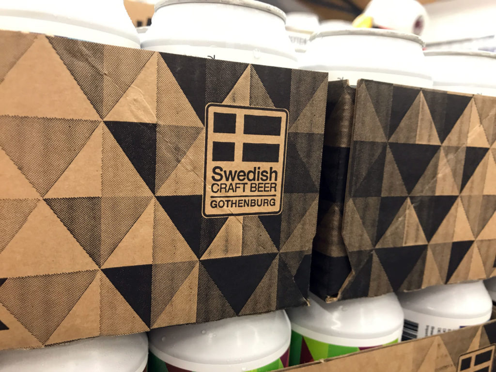 The Swedish Craft Beer Gothenburg logo on a can tray from Beerbliotek's brewery.