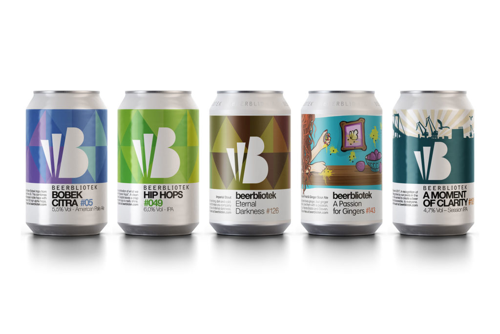 New Packshot of 2019 updated Core Range beers from Craft Brewery, Beerbliotek, Gothenburg, Sweden, featuring beers Bobek Citra, Hip Hops, Eternal Darnkess, A Passion for Gingers and A Moment of Clarity