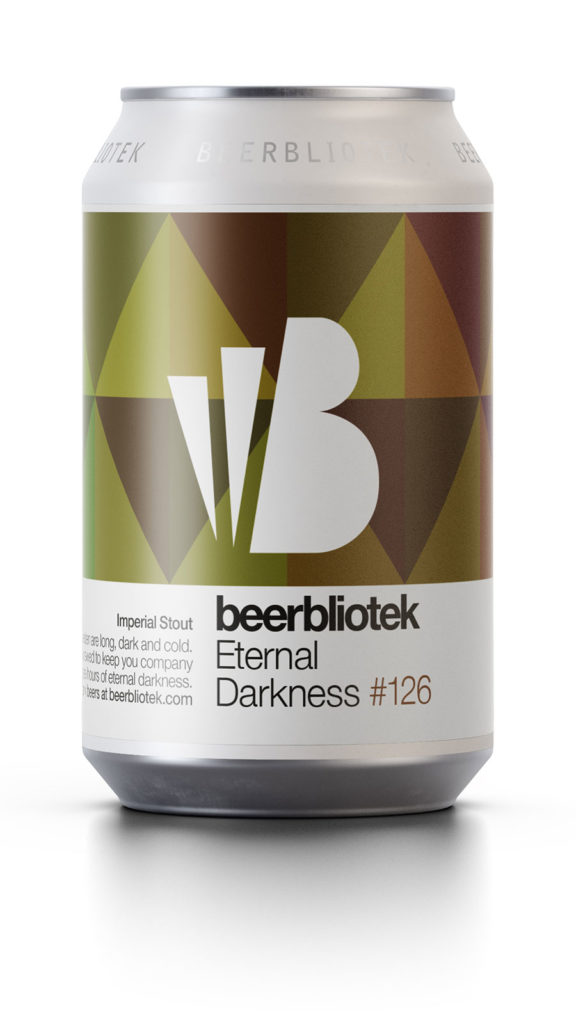 A can packshot of Eternal Darkness, an award winning Imperial Stout, brewed by Swedish Craft Brewery Beerbliotek.