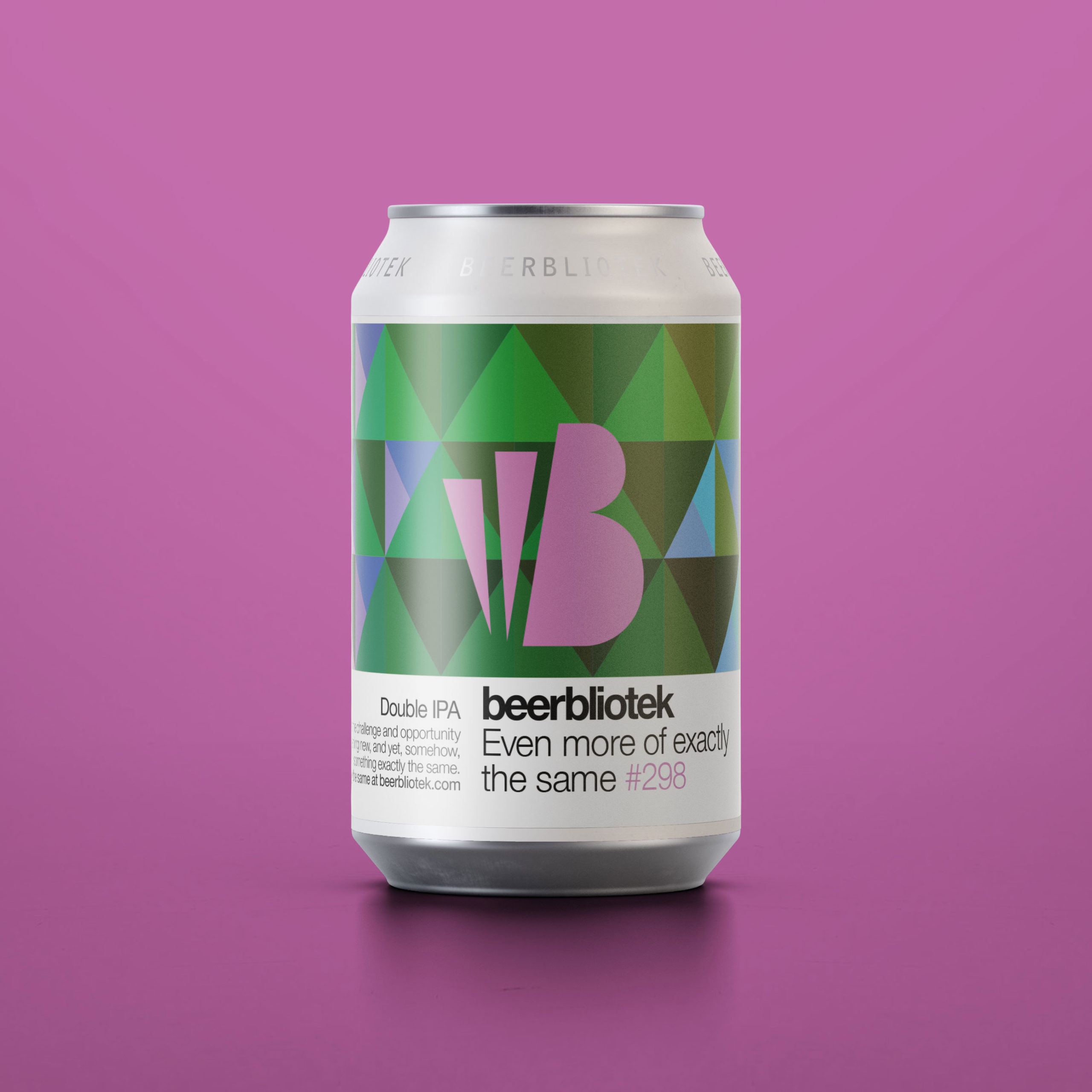 A can marketing ppackshot of a Double IPA, Even more of exactly the same, brewed in Sweden by Craft Brewery Beerbliotek.