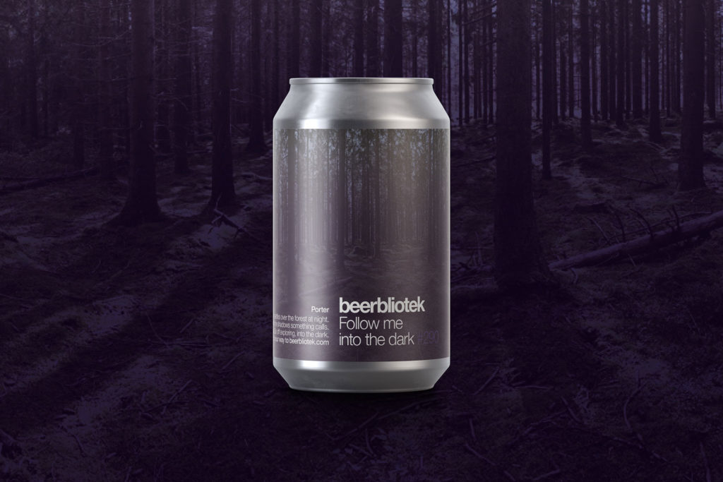A can marketing packshot of Follow me into the dark, a Porter brewed by Swedish Craft Brewery Beerbliotek, during packaging.