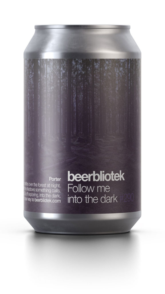 A can packshot of Follow me into the dark, a Porter brewed by Swedish Craft Brewery Beerbliotek, during packaging.