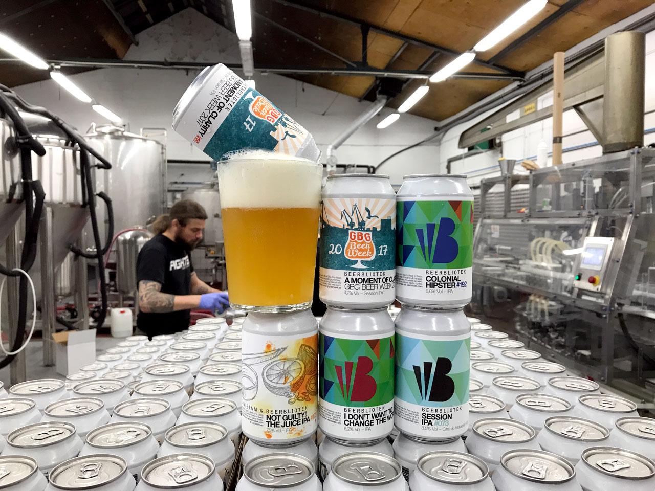 Fresh IPA cans from Beerbliotek Brewery.