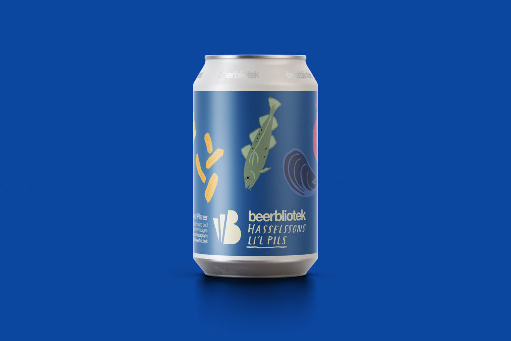 A marketing can Packshot of of Hasselssons Li'l Pils, an Unfiltered Pilsner, for brewed for Hasselssons seafood restaurant in Majorna by Swedish Craft Brewery Beerbliotek.