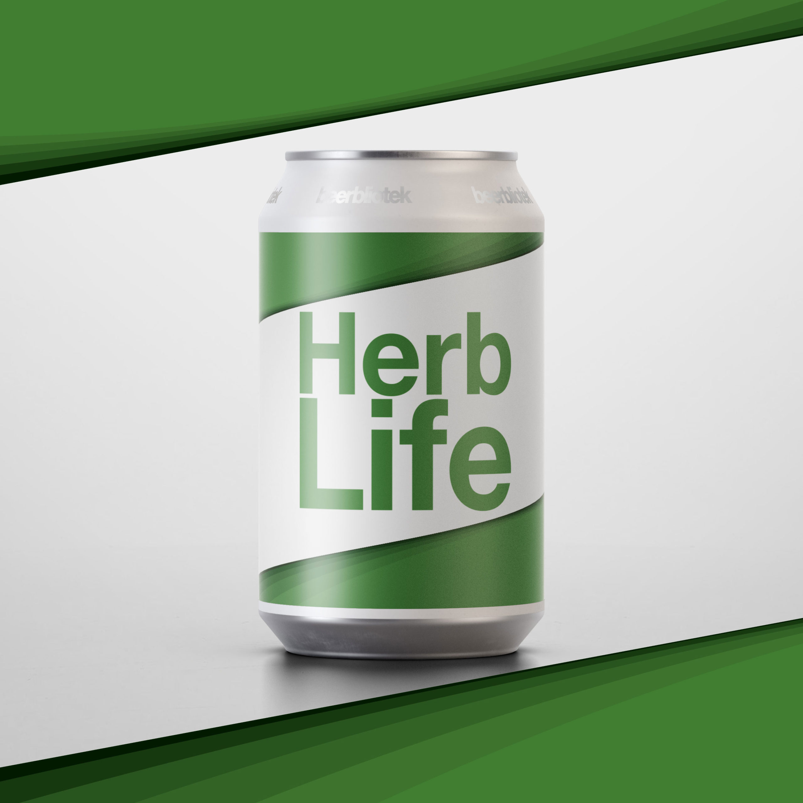 A Marketing can packshot of Herb Life, an India Pale Ale brewed in Gothenburg, by Swedish Craft Brewery Beerbliotek.