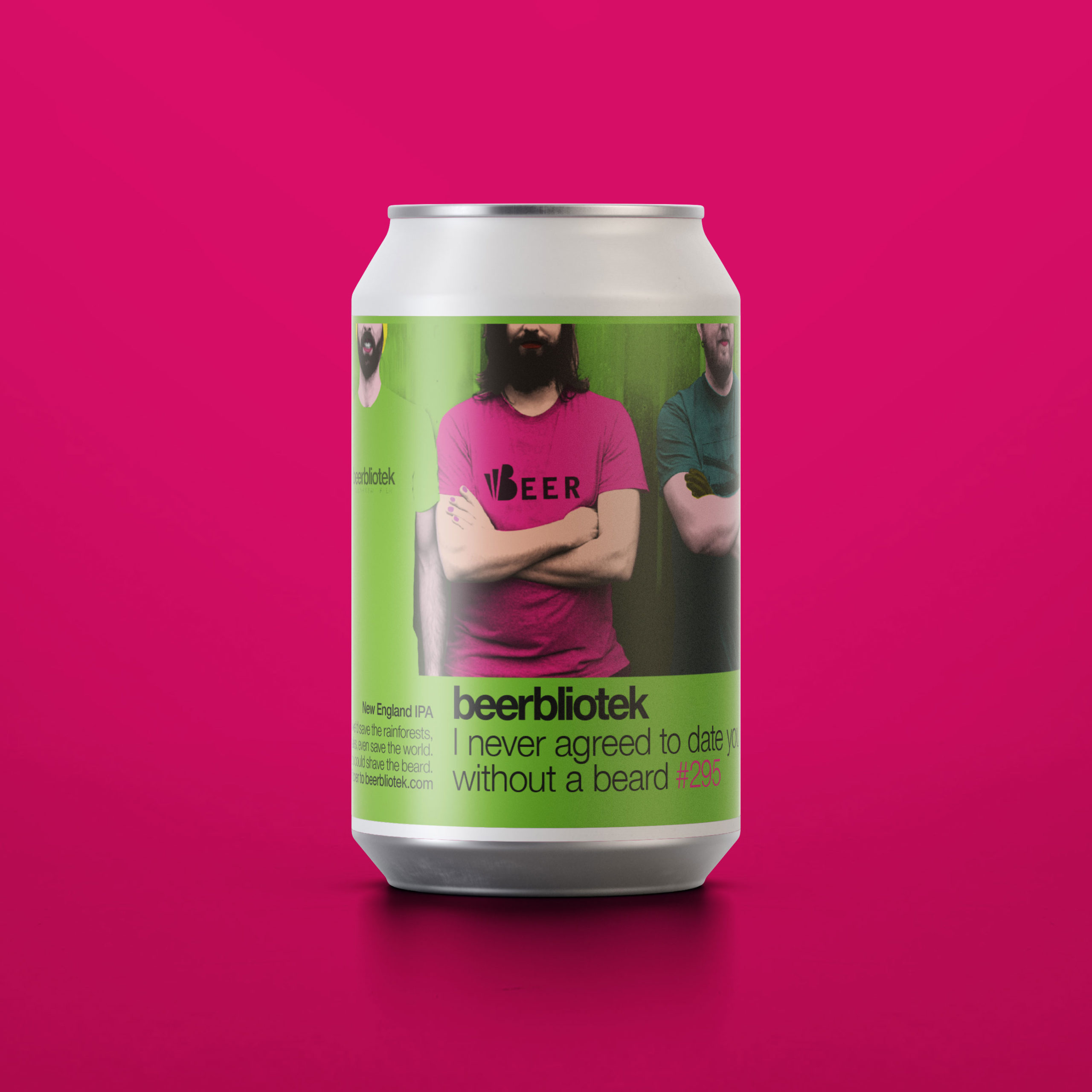 A can packshot of I never agreed to date you without a beard, a New England IPA brewed in Gothenburg, by Swedish Craft Brewery Beerbliotek.