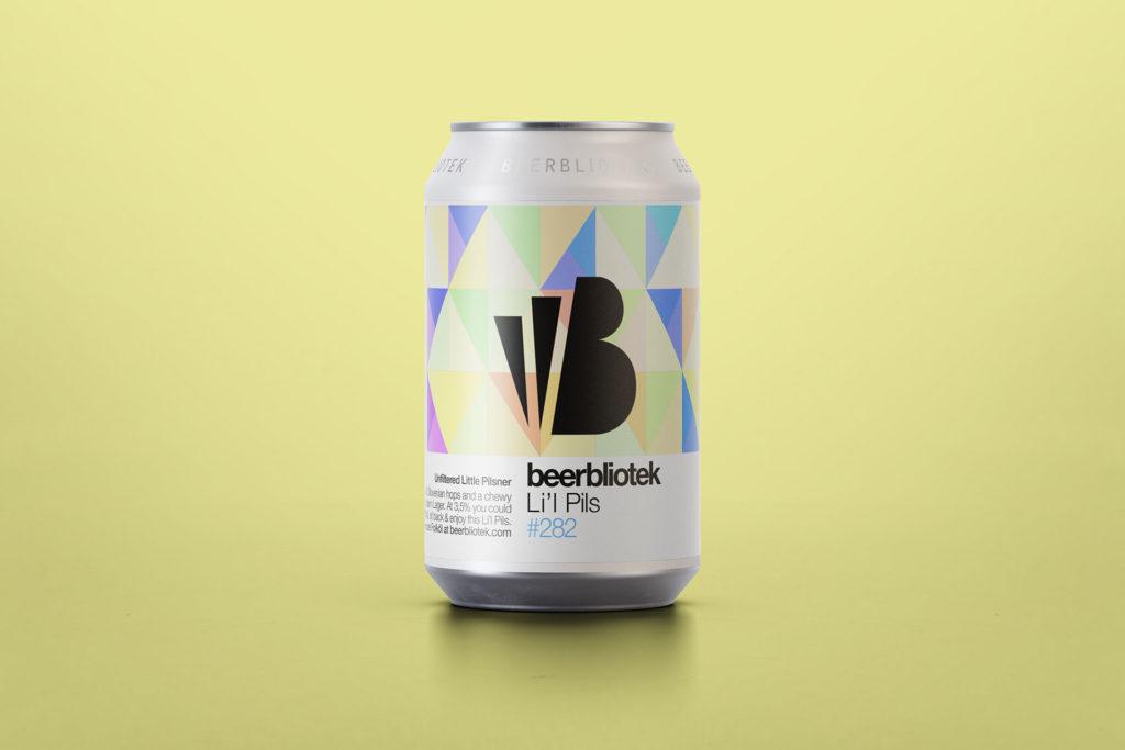 A can packshot of Li'l Pils, a low ABV (Folköl) Unfiltered Pilsner brewed by Swedish Craft Brewery Beerbliotek, in Gothenburg.