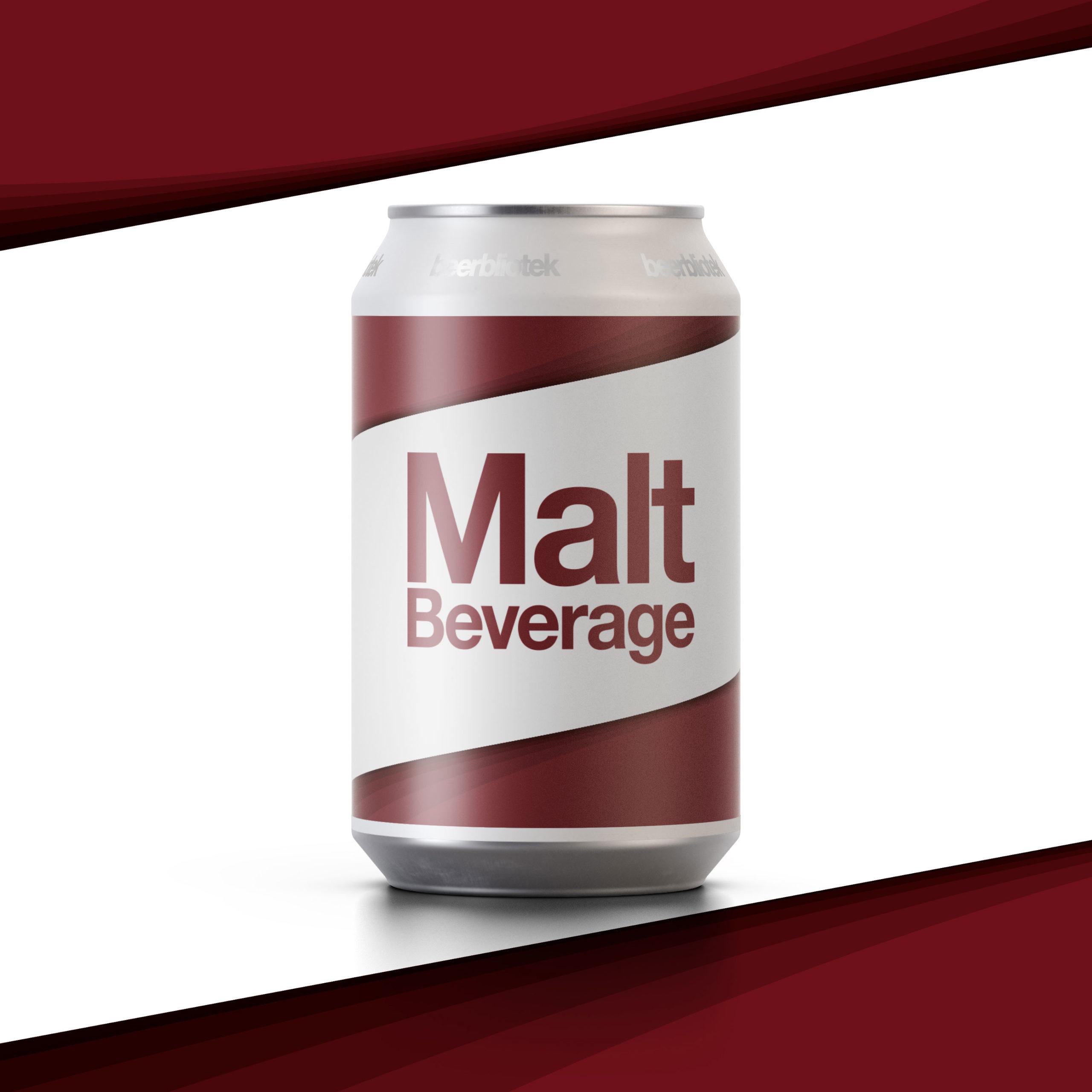 A marketing can packshot of Malt Beverage, an Amber Lager, brewed by Swedish Craft Brewery Beerbliotek.