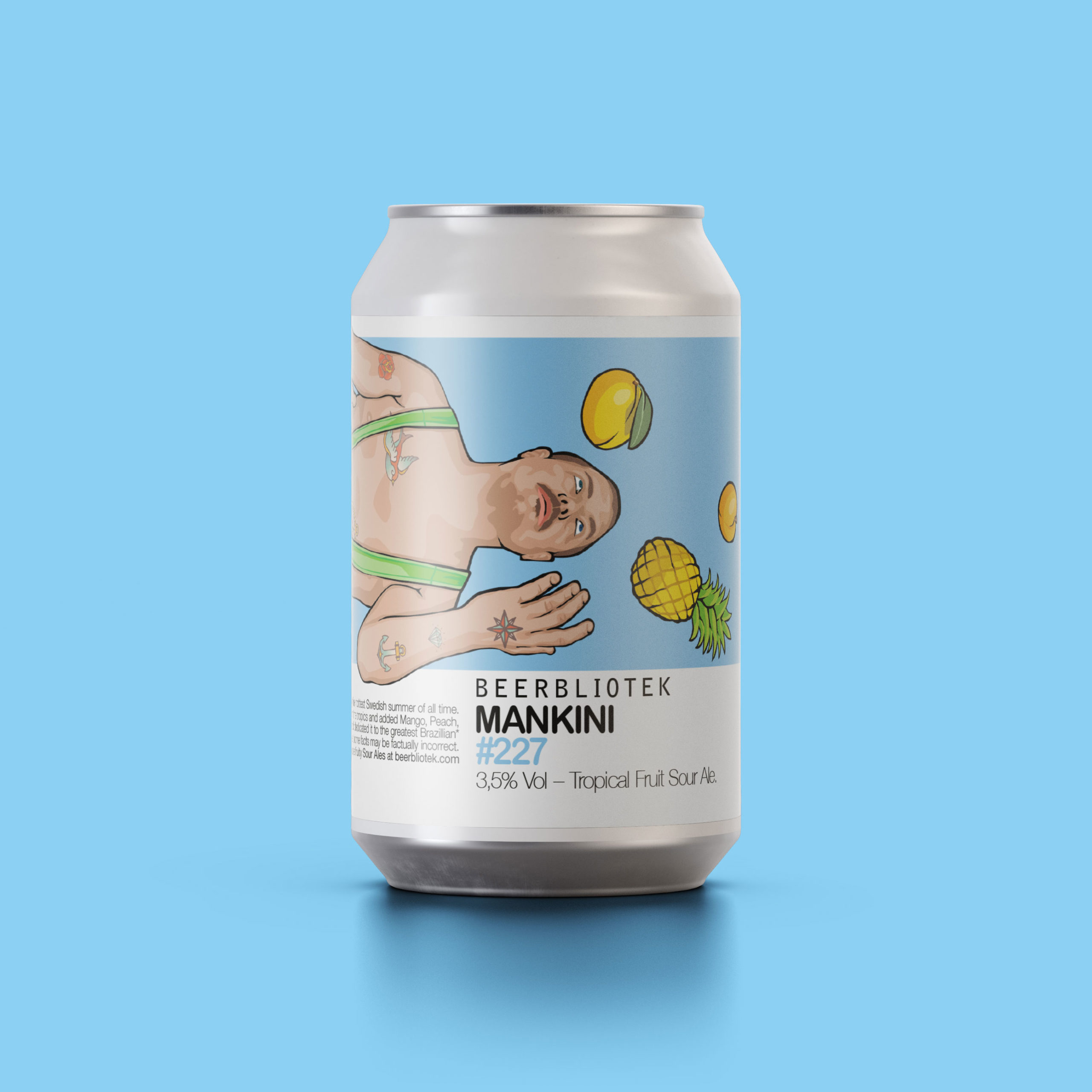 A can packshot of Mankini Tropical Fruit Sour Ale, brewed by Swedish Craft Brewery Beerbliotek.