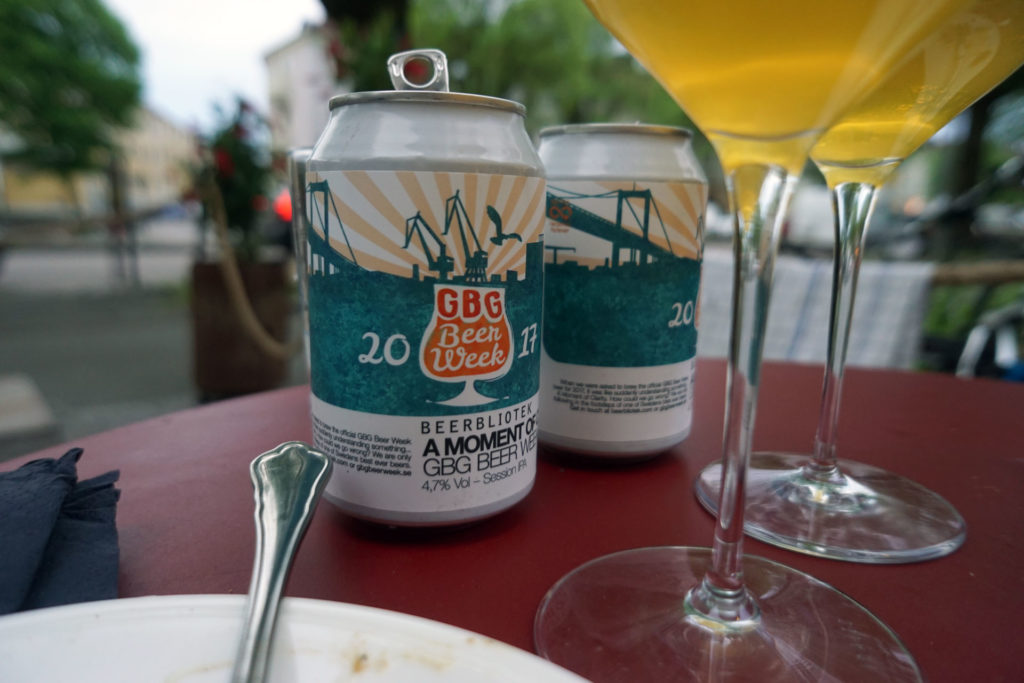 """Two cans of Beerbliotek Session IPA, """"A Moment of Clarity, GBG Beer Week 2017"""", at Tapasbaren."""