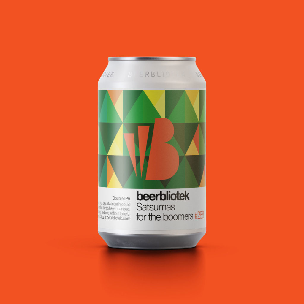 A can packshot of Satsumas for the boomers, a Double IPA, brewed by Swedish Craft Brewery Beerbliotek, in Gothenburg Sweden.