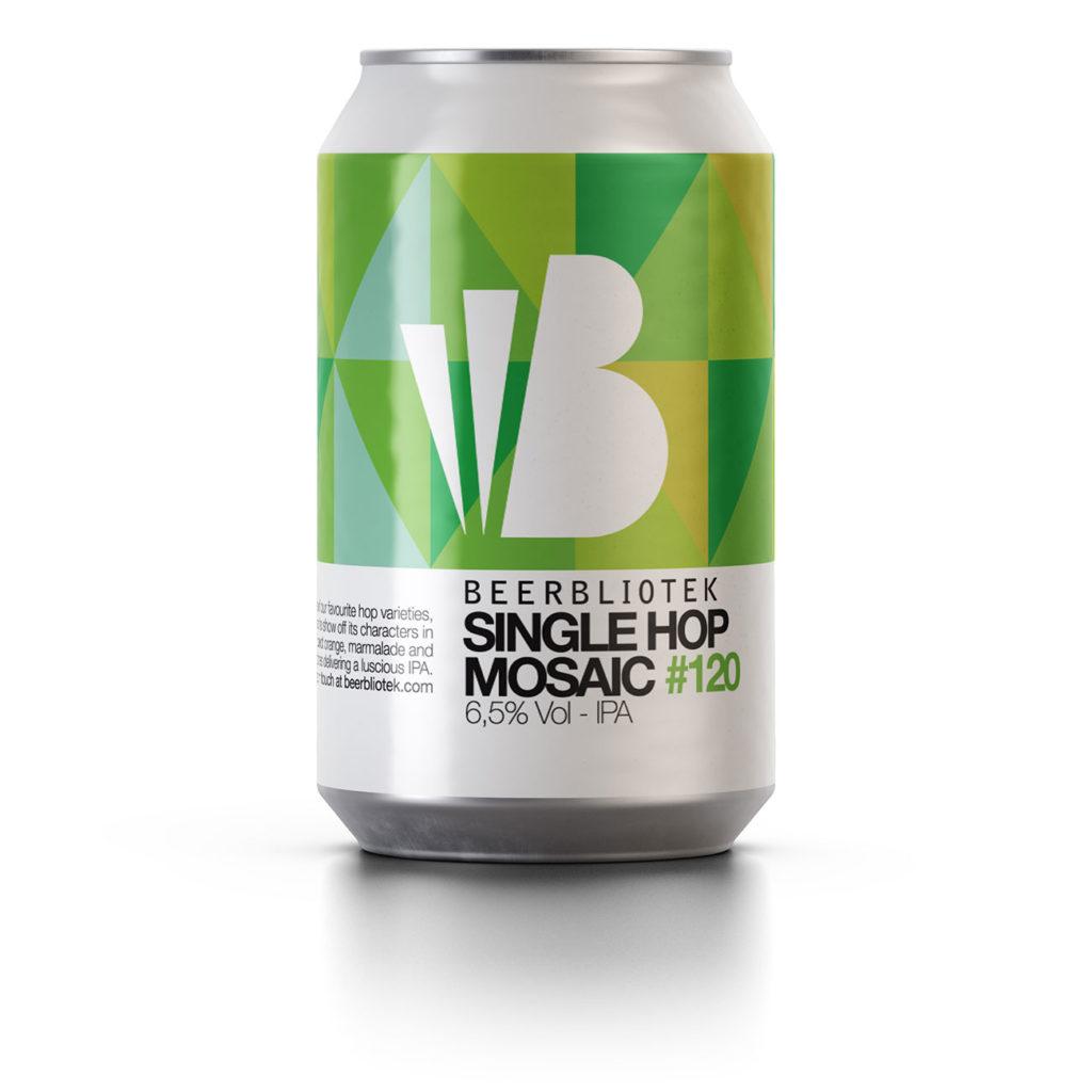 A can packshot of Single Hop Mosaic, an IPA brewed by Swedish Craft Brewery Beerbliotek.