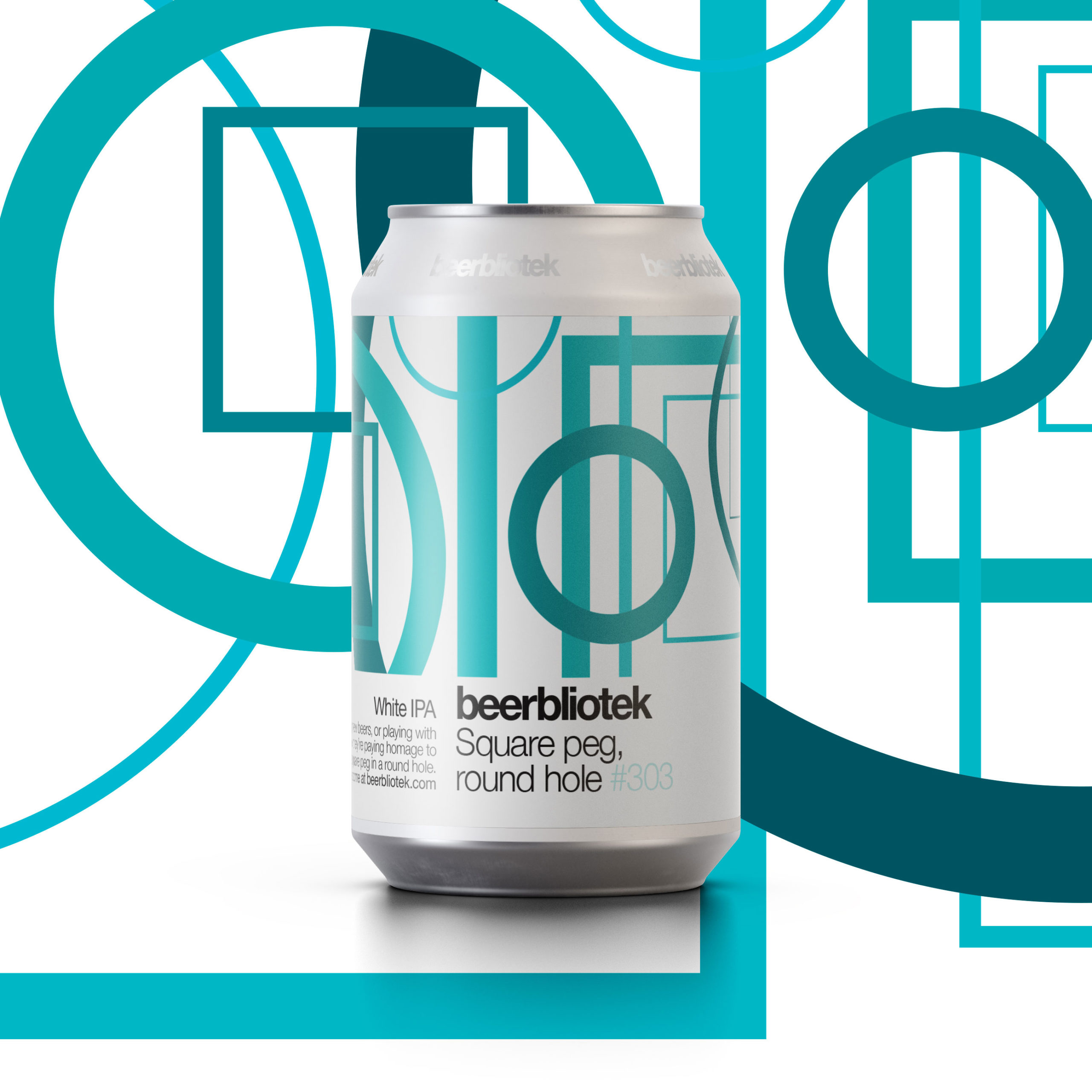 A marketing can packshot of Square peg, round hole, a White IPA, brewed in Gothenburg, by Swedish Craft Brewery Beerbliotek.