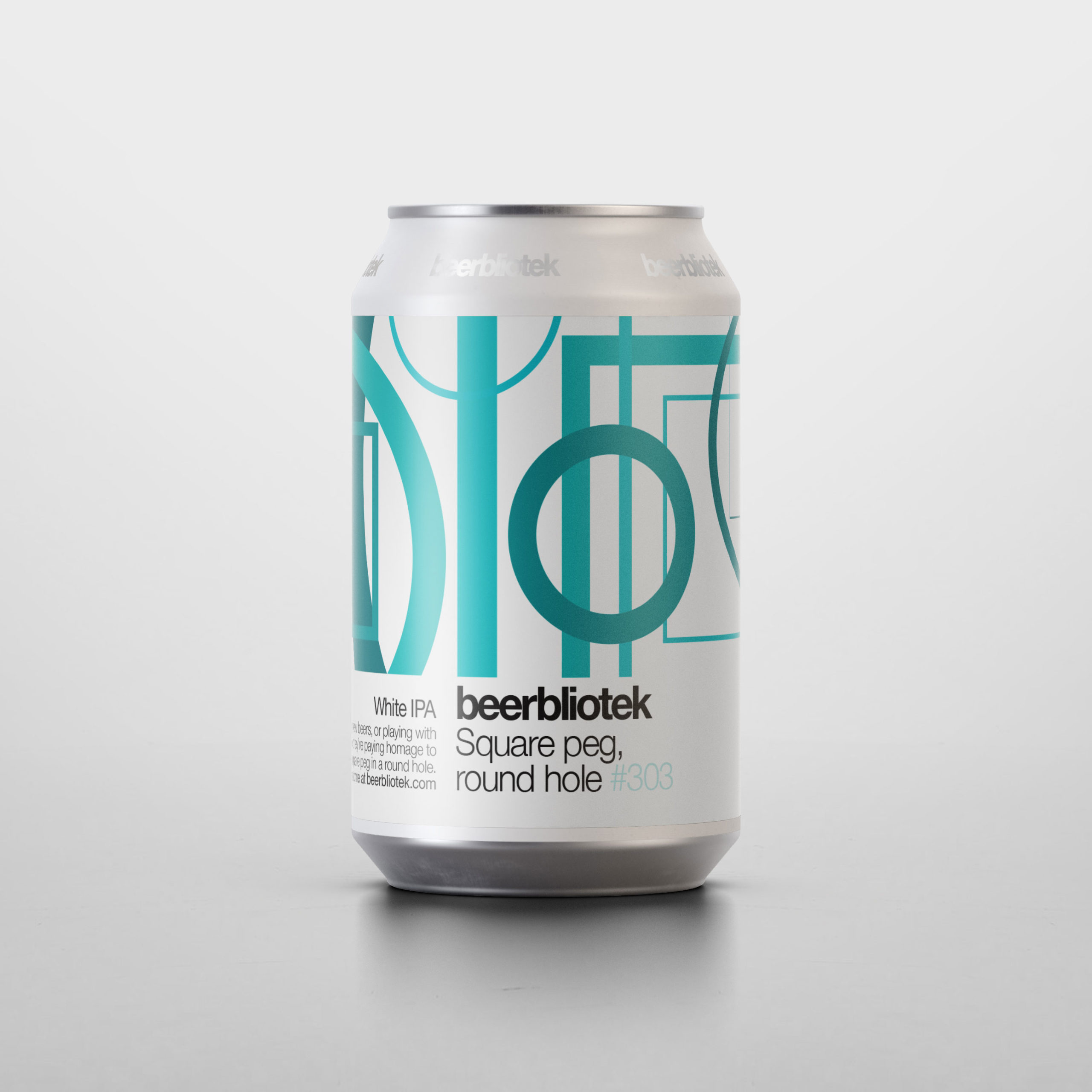 A can packshot of Square peg, round hole, a White IPA, brewed in Gothenburg, by Swedish Craft Brewery Beerbliotek.