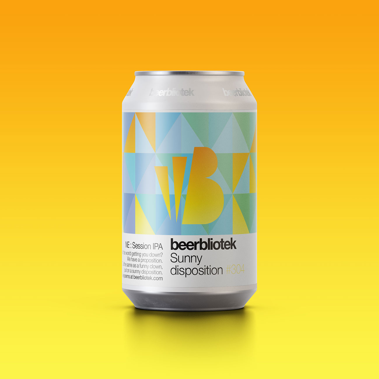 A marketing can packshot of Sunny disposition, a New England Session IPA, brewed in Gothenburg, by Swedish Craft Brewery Beerbliotek.