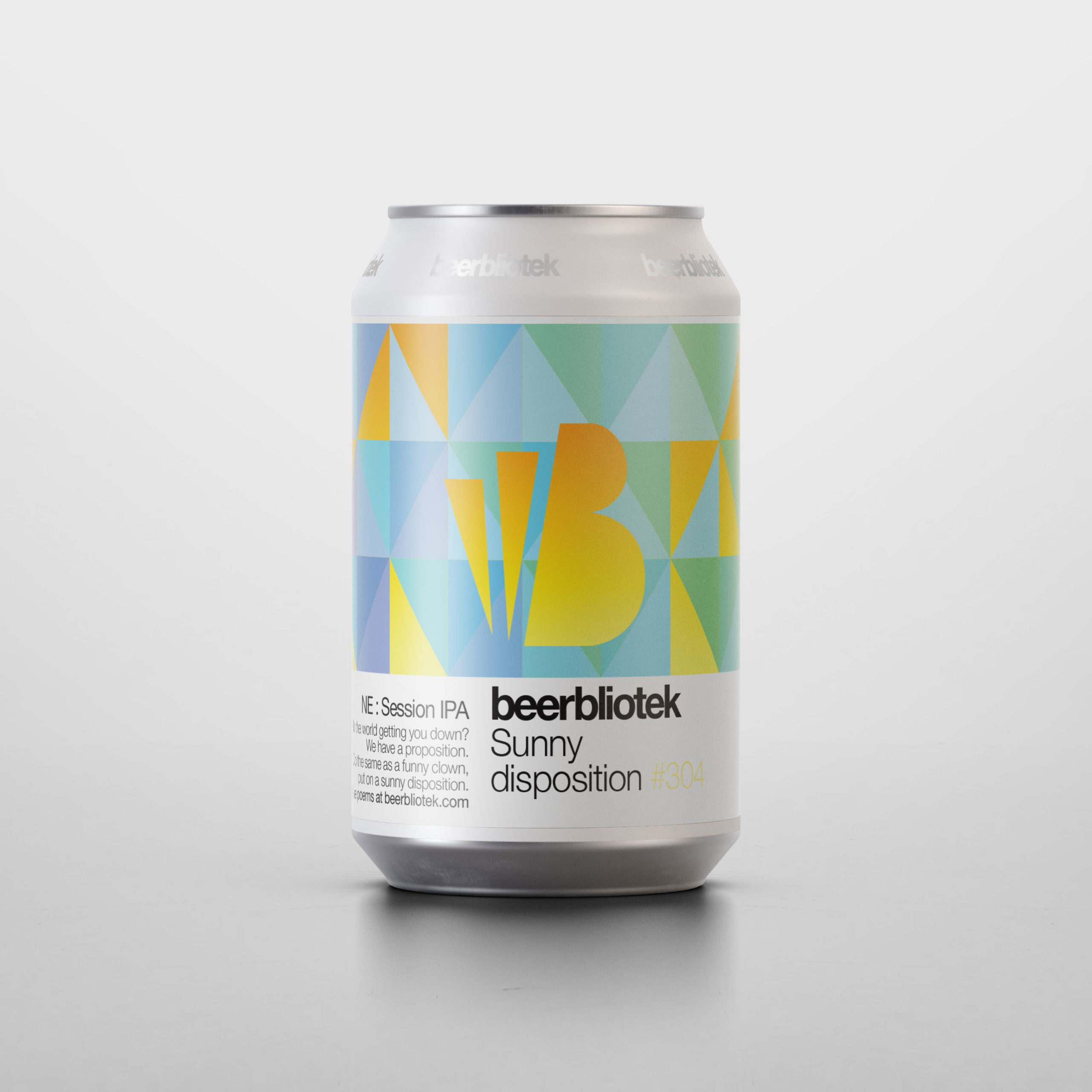 A can packshot of Sunny disposition, a New England Session IPA, brewed in Gothenburg, by Swedish Craft Brewery Beerbliotek.