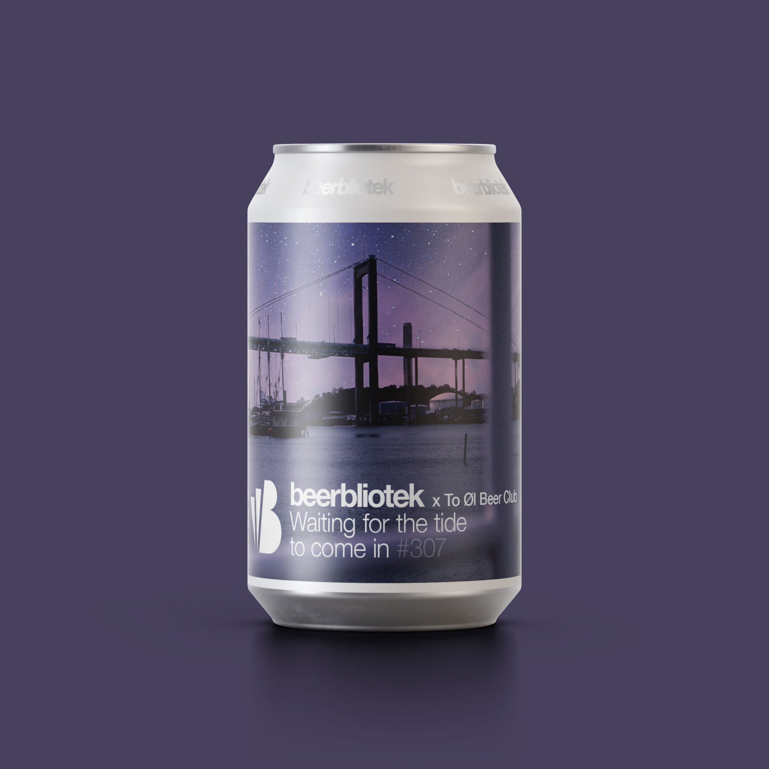 A marketing can packshot of Waiting for the tide to come in, a Honey Baltic Porter, brewed especially for To Øl and the To Øl Monthly Beer Club Box, brewed by Swedish Craft Brewery Beerbliotek.