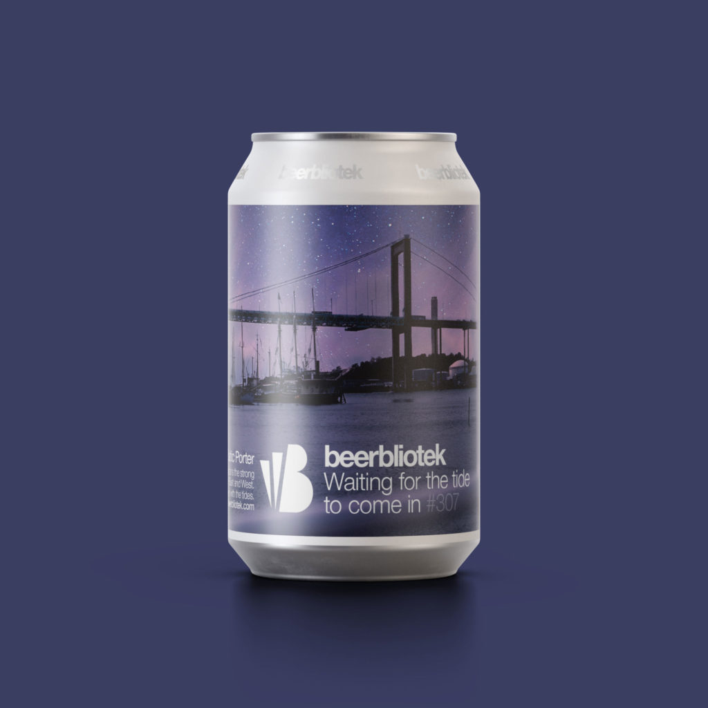 A marketing can packshot of Waiting for the tide to come in, a Honey Baltic Porter, brewed in Gothenburg, by Swedish Craft Brewery Beerbliotek.