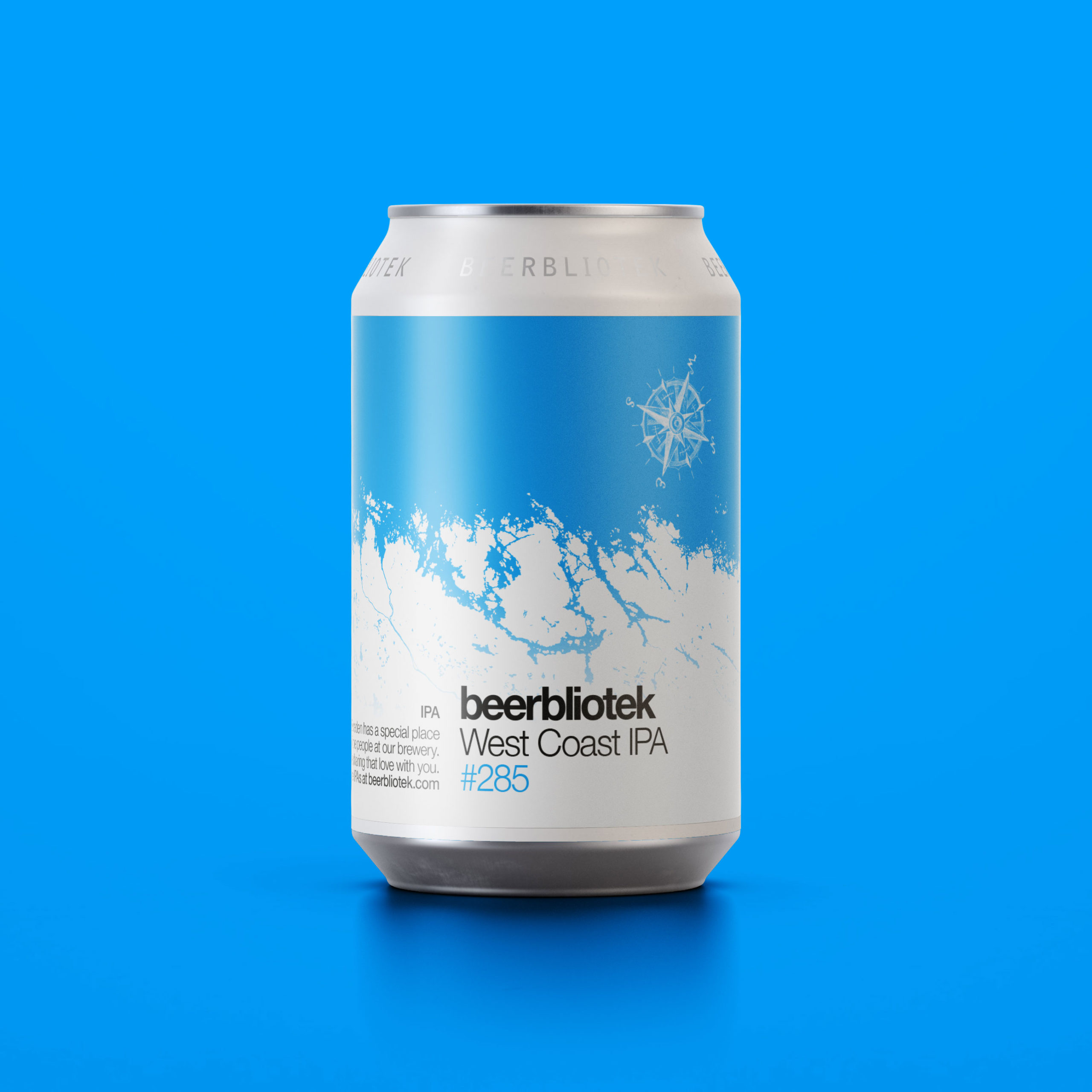 A can packshot of West Coast IPA, with a blue background, an IPA from Swedish Brewery Beerbliotek.