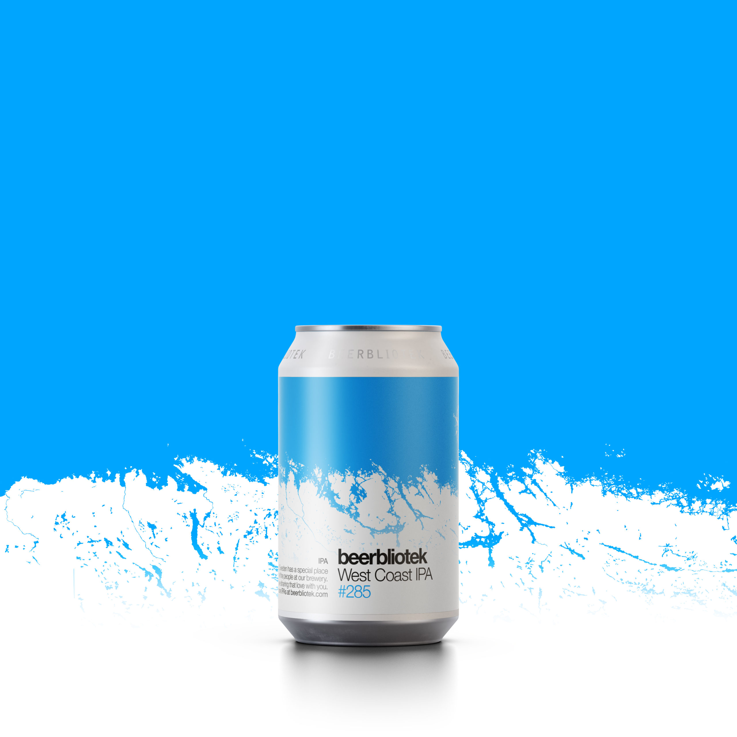 A can packshot of West Coast IPA, with a design of the Swedish West Coast, an IPA from Swedish Brewery Beerbliotek.