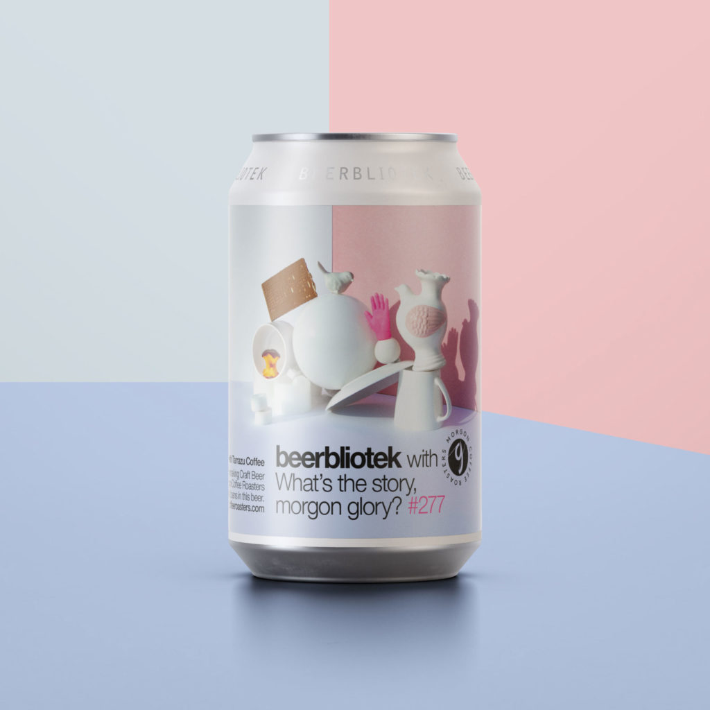 A can packshot of What's the story, Morgon Glory? an Out stout with Tarrazu coffee brewed in Gothenburg, by Swedish Craft Brewery Beerbliotek and Morgon Coffee Roasters.