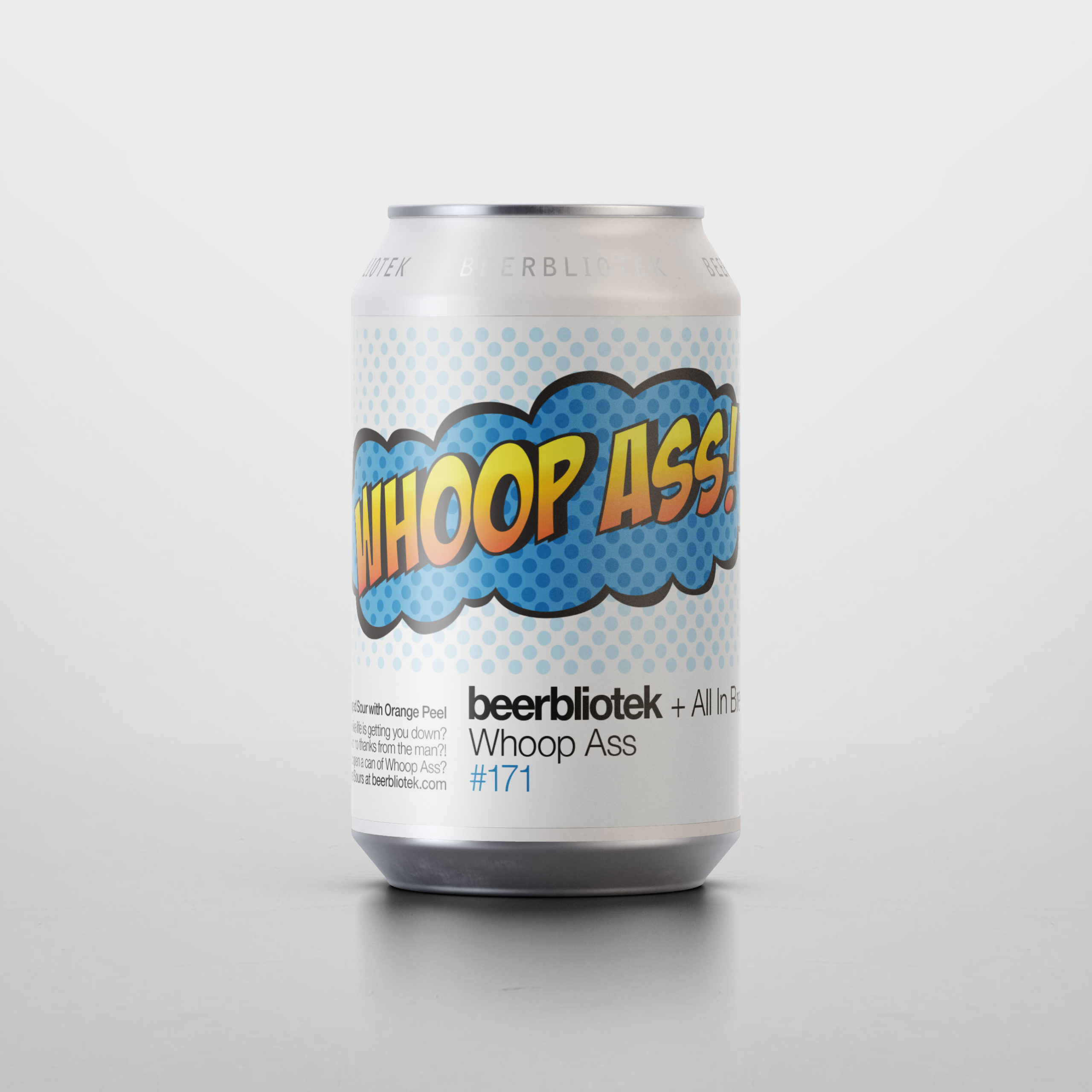 A can packshot of Whoop Ass, a dry hopped berliner brewed by Beerbliotek, a craft brewery from Gothenburg, Sweden.