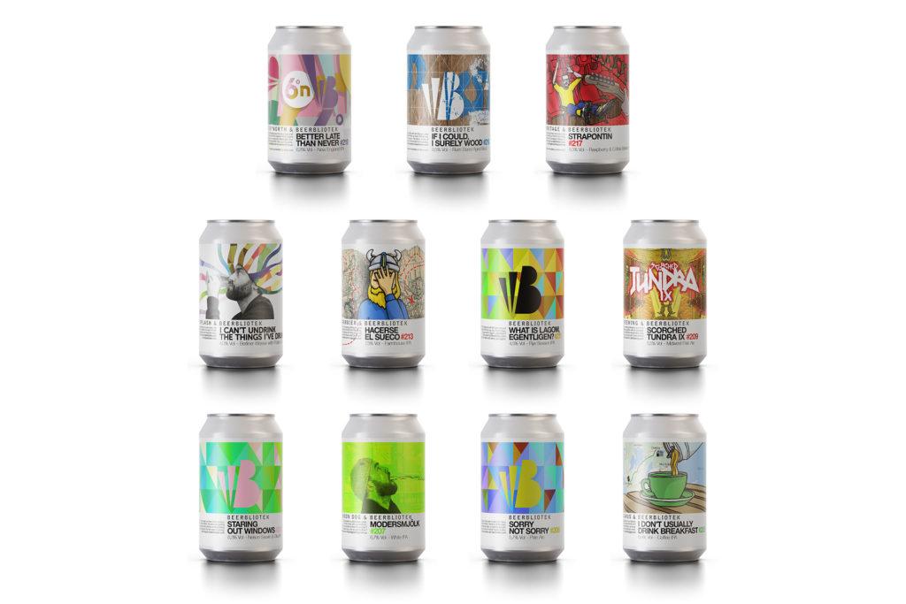 Eleven Cans of craft beer brewed by Beerbliotek Craft Brewery in Gothenburg Sweden.