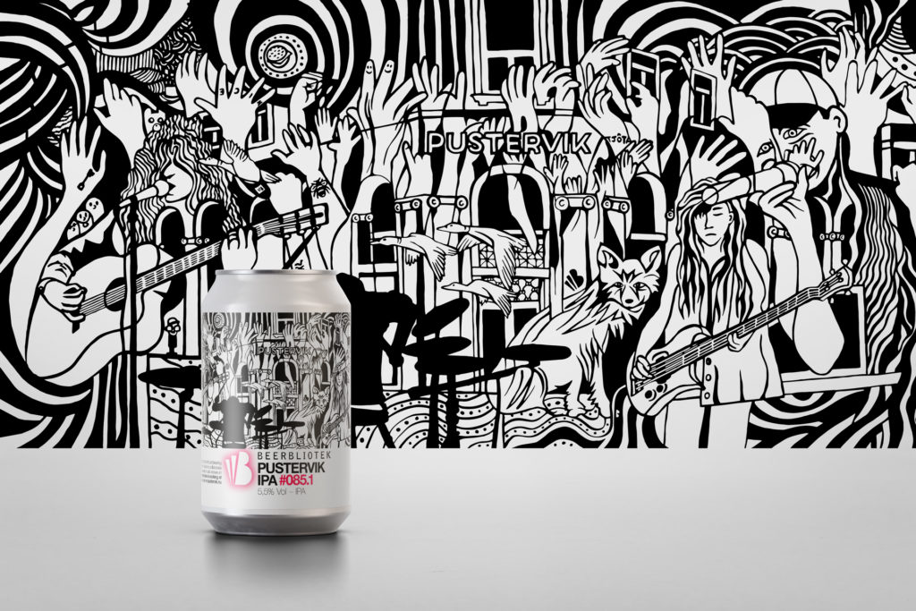 A can of Pustervik IPA along with the artwork that will hang on the wall at Pustervik.