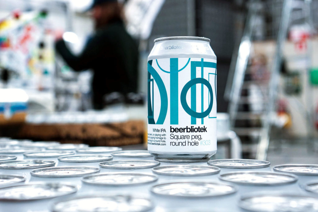 A can on packaging day of Square peg, round hole, a White IPA, brewed by Swedish Craft Brewery Beerbliotek.