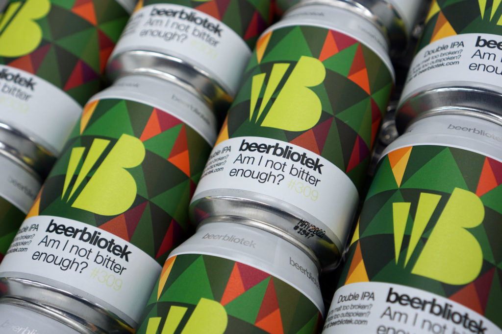 A photo pattern of cans of Am I not bitter enough? A Double IPA brewed at Swedish Craft Brewery Beerbliotek.