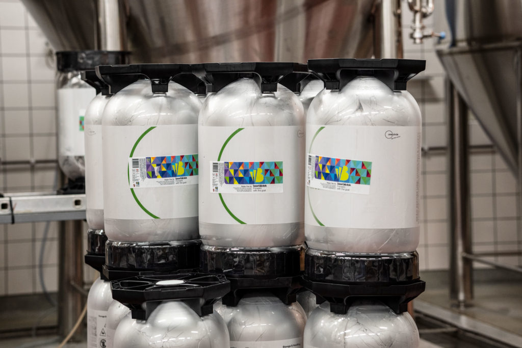 Kegs of Forward with the goat, a Belgian Pale Ale, on packaging day, brewed at Swedish Craft Brewery Beerbliotek.