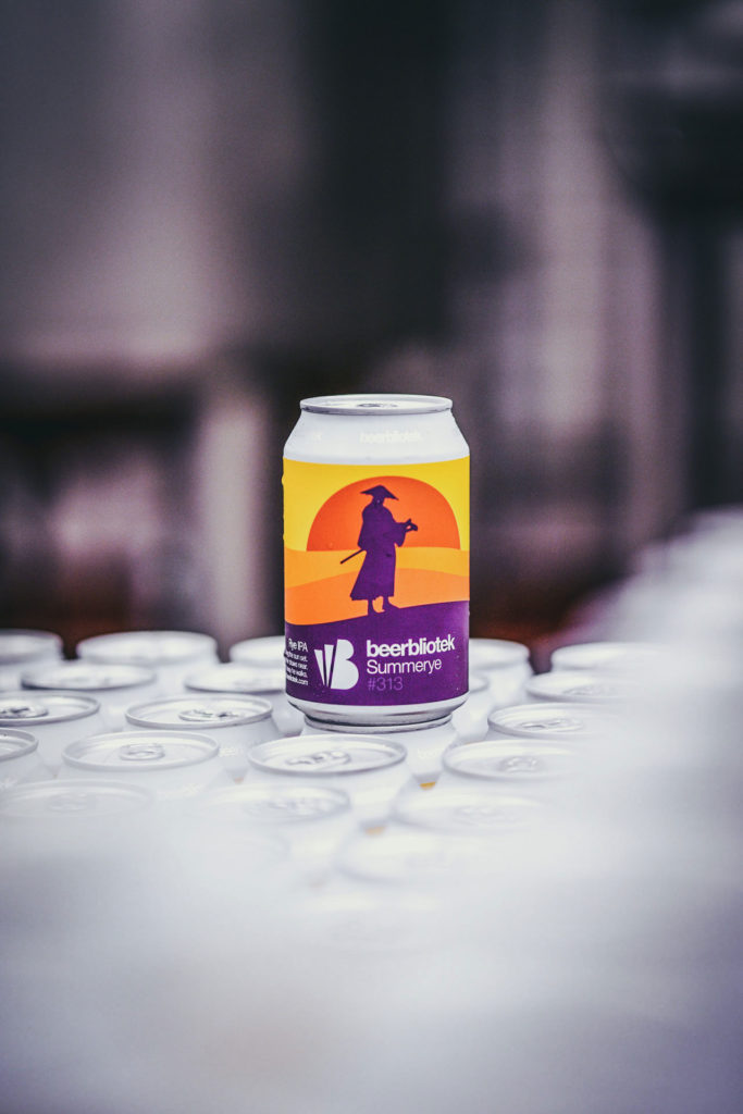 A can of Summerye, a RYE IPA, on packaging day, brewed at Swedish Craft Brewery Beerbliotek.