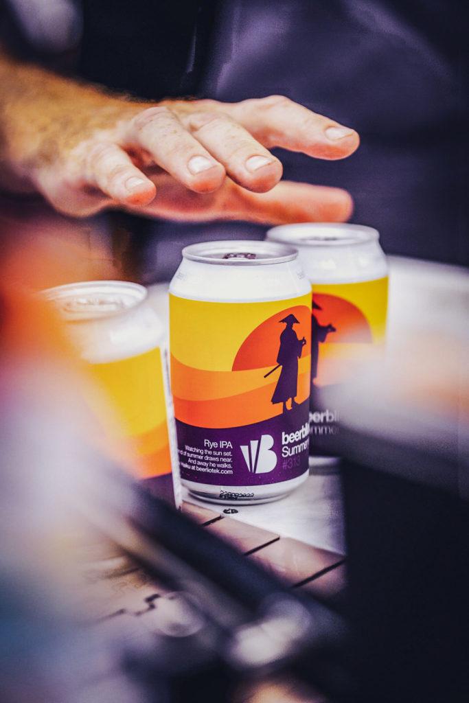 Cans of Summerye, a RYE IPA, on packaging day, brewed at Swedish Craft Brewery Beerbliotek.