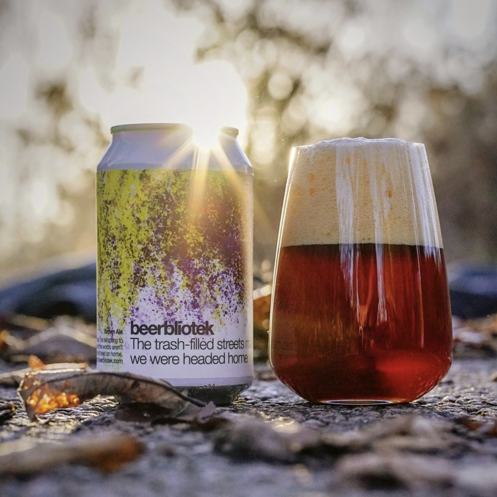 A tasting photo of The trash-filled streets made me wish we were headed home, a Brown Ale brewed in Gothenburg, by Swedish Craft Brewery Beerbliotek.