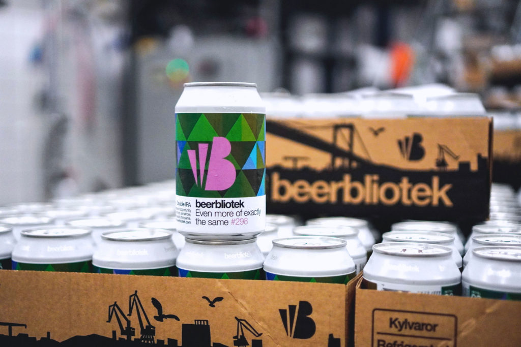 A can of Even more of exactly the same, a Double IPA, brewed in Gothenburg, by Swedish Craft Brewery Beerbliotek, during the packaging day.