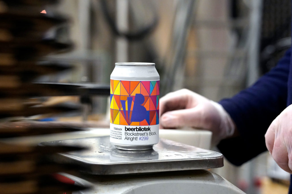 A can of Bockstreet's Bock, Alright! A Maibock, brewed in Gothenburg, by Swedish Craft Brewery Beerbliotek, during the packaging day.