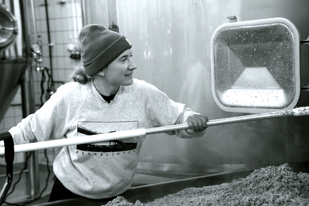 Linda Bengtström, working at Beerbliotek, a Swedish Craft Beer Brewery in Gothenburg.