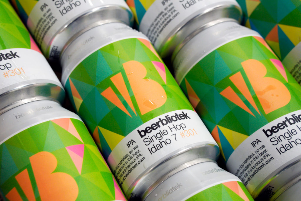 A can pattern of Single Hop Idaho 7, a IPA, during packaging at Swedish Craft Brewery Beerbliotek.