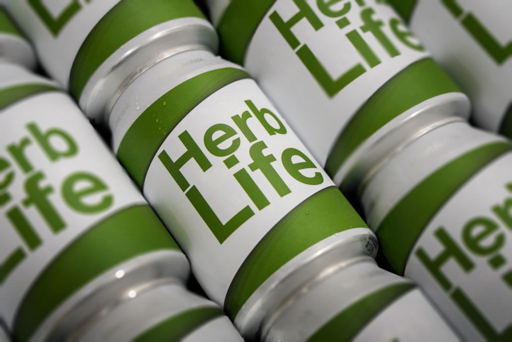 A can pattern of Herb Life, an India Pale Ale, at Swedish Craft Brewery Beerbliotek.