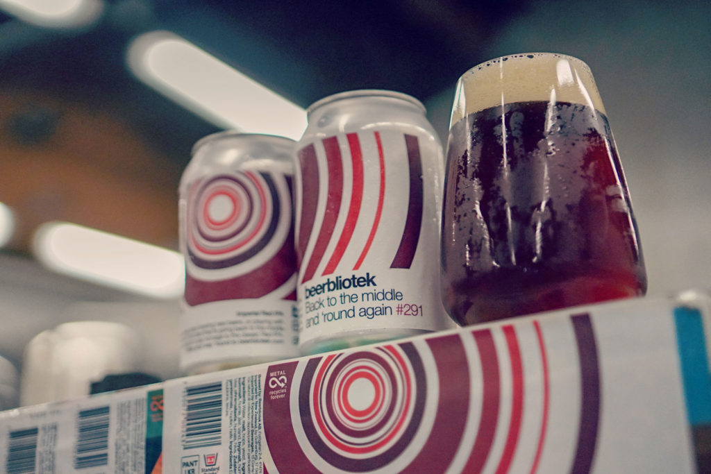 Tasting a freshly packaged Back to the middle and 'round again, an Imperial Red IPA brewed in Gothenburg, by Swedish Craft Brewery Beerbliotek.