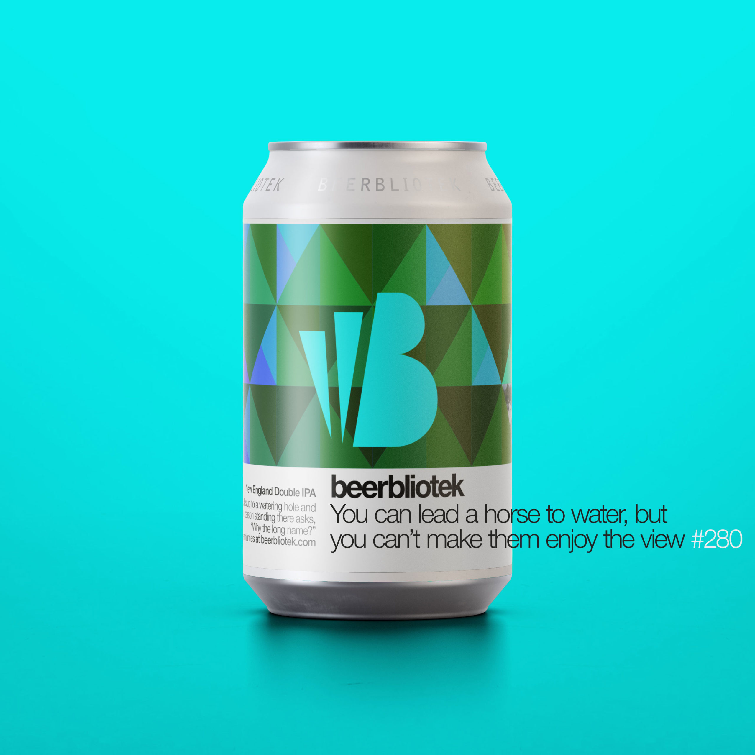 A marketing can packshot of You can lead a horse to water, but you can't make them enjoy the view, a New England Double IPA, brewed by Swedish Craft Brewery Beerbliotek.