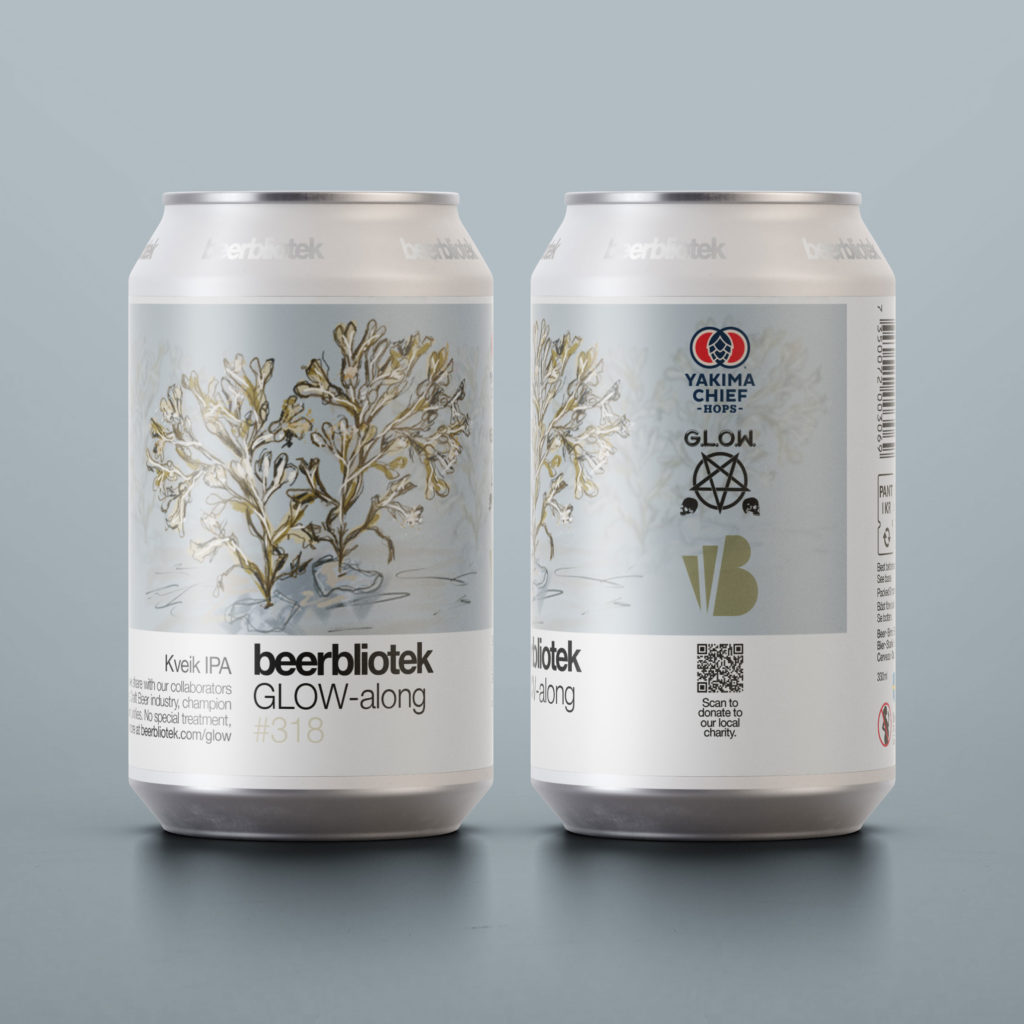 A two can marketing packshot of Beer Number 318 Glow-along by Beerbliotek. A Swedish Craft Brewery based in Gothenburg, Sweden. This Kveik IPA is a collaboration with Yakima Chief Hops and All In Brewing.